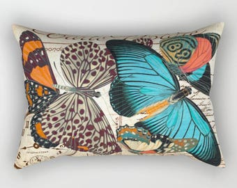 Vintage Postcard BUTTERFLY Lumbar Pillow, Rectangular, Romantic, Antique French Handwriting script Turquoise Blue Orange, Black, Cream Beige