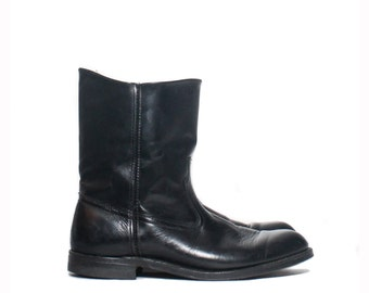 8 E (Wide) | Men's Vintage Wellington Boot Black Leather Moto Boot Pull On Style