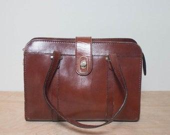 50% OFF Sale Brown Leather Zip Top Handbag