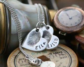 Fingerprint Petite Double Heart Necklace