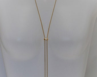 Lariat, Gold and crystal Lariat Necklace, Long necklace, Gold lariat, Gift for her, Holiday Gift