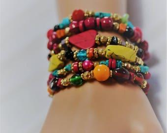 Stretch Red Bracelet, Multi strand Bracelet, set of 6 beaded Bracelet, Layered Bracelet, Gift for her, Multi color Bracelet, Summer bracelet