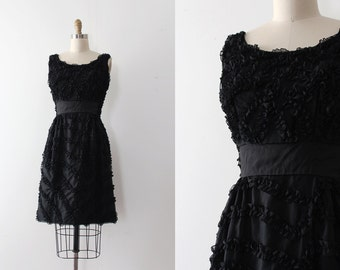 SALE / vintage 1950s dress // 50s 60s little black ribbon dress