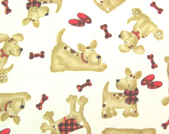 Flannel Fabric by the Yard in a Fun Puppy Dog Print 1 Yard