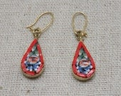 Mosaic Flower Pierced Earrings, Vintage