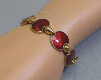 Vintage Crimson Red Enamel Link Bracelet, 8 Inch Long Enamel Bracelet