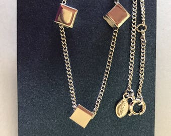 Avon Silver Tone Block Pendant Necklace and Matching Stud Earrings