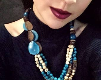 Multi-Seed Statement Necklace/ Tagua Necklace/ Acai Seed Necklace / Ecofriendly and Ecofashion Jewelry