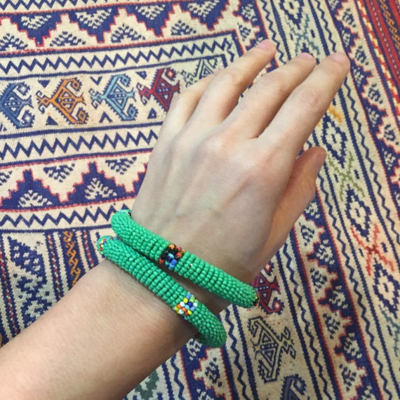 Set of Two African Bangles/ Maasai Beaded Bangles/ Fair trade/ African Jewelry