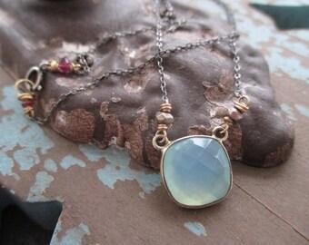 Dainty chalcedony layering necklace - Pond - sterling silver gold fill everyday lightweight yoga beach boho by slashKnots