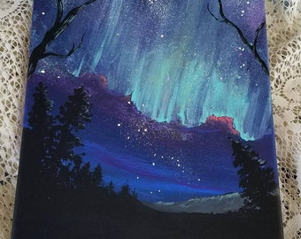 ORIGINAL 8X10 Acrylic Painting Stretched Canvas NIGHT SKY Sold As Is
