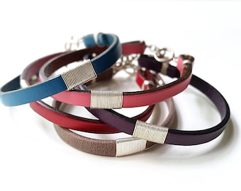 Sterling SILVER & Thin LEATHER CUFF Bracelet—Blue Red Purple Pink Red Unisex Wristband [Gris Mauve Bleu Argent—Pulsera Piel Rosa Azul Plata]