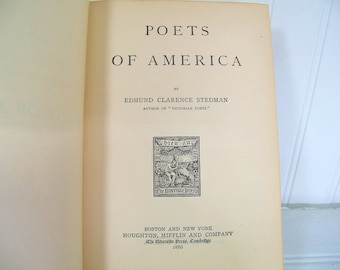 Poets of America - Antique Electrotyped Book - by Edmund Clarence Stedman - Old Blue Book for Interior Design Library Photo Prop Decorator