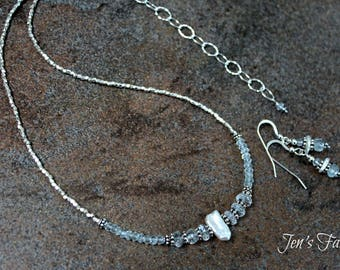 Aquamarine & Pearl Pure Silver Necklace Set, White Stick Pearl, Gemstone, Jewelry, Jewellery, Handcrafted, March Birthstone, Womens Gift