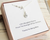 Sterling Silver Anchor and Compass Necklace with Friendship Sentiment Card