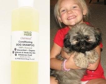 Natural Dog Shampoo, 8 oz Organic Liquid Oatmeal Formula Unscented (8 oz size) by Wild Herb Soap Co.