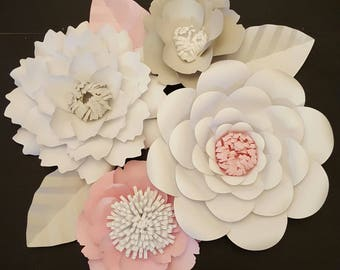 RTS Large Paper Rose Paper Flower Photo Prop Backdrop Set of 4 Flowers Wedding Nursery Decor Ready to Ship Baby Shower