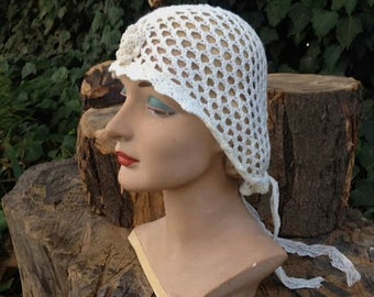 CUSTOM example, photo stylist, made to order, chemo, winter bride Rustic hat Latte ecru veil crochet hood headpiece lace anthropologie like
