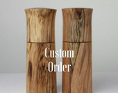 """Pair 8"""" Salt and Pepper Grinders in Irish Spalted Beech with Crushgrind ceramic mechanism"""