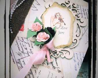 Vintage shabby blush wedding guest book and photo book all in one