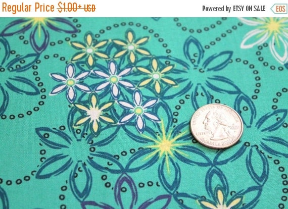 Aqua blue flower fabric,Quilt fabric,Apparel fabric,100 % Cotton,Free Spirit,Fabric by the yard,Fabric by the half yard,Fat quarter fabrics