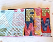 Modern Quilted Coasters - Set of 4 - Red, Yellow, Blue Alphabet - Ready to Ship