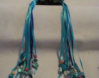 Hair Clips with Ribbons and Beads....set of 2....hand made...black /blues