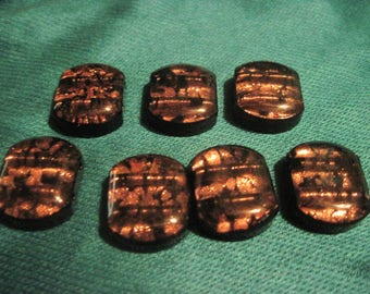 Set of 7 Black and Gold Dichroic Glass Two Hole Slider Beads...rescued