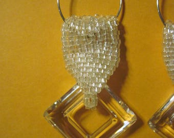 Beautiful Swarovski Crystal Square Dangle Earrings...1494h...OOAK