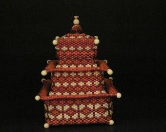 Beaded Pagoda Style 3 tier Box...HAND BEADED