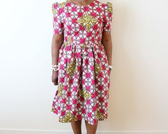 African Print Dress, Gathering Dress, Party Dress, Summer Dress