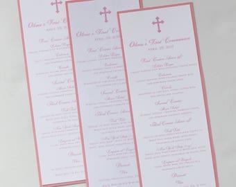 Pink Classy Cross Baptism-Communion Menu