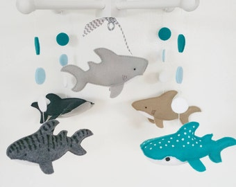 Baby Crib Mobile- Sharks Mobile- Gray ans navy blue Sharks-custom Made Mobile-whale shark, tiger shark, hammer shark, white shark bull shark