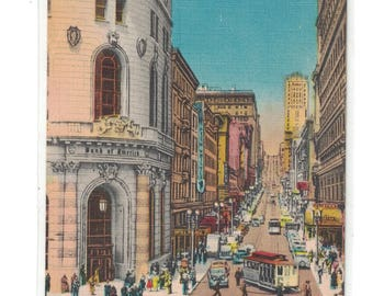 """California, Vintage Postcard, """"Looking up Powell Street Showing Cable Cars Turntable, San Francisco, California,""""  1940, #1074."""