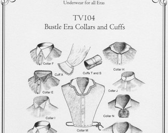 TV104, 1870s Bustle Era Collars and Cuffs Sewing Pattern by Truly Victorian