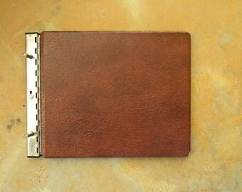 Vintage Business Ledger,  Heavy Duty Brown Vinyl Mid Century Record Book Office Supply, Scrapbook Album, Paper Ephemera