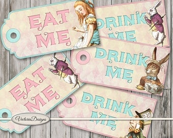 Alice in Wonderland Eat Me Drink Me Tags Printable back crafting scrapbooking digital download instant download digital sheet - VDTAAL1547