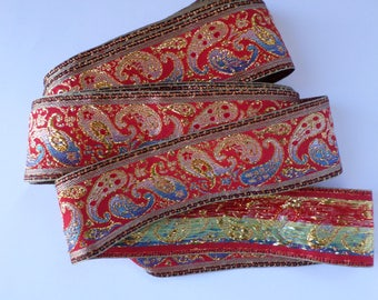 red gold paisley embroidered trim, jacquard ribbon trim, brocade ribbon trim, paisley ribbbon, woven ribbon, 2 inch wide x 8 yards long