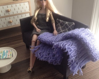 Handknit Fringe Throw Blanket in Lilac for sixth scale diorama or doll house