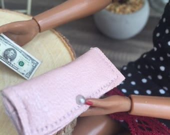 Leather Wallet with Money and Credit Cards in Multiple Colors for 1/6 scale Fashion Dolls and Dioramas