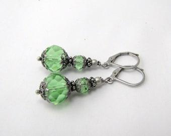 Green earrings vintage style crystal jewelry dark silver antique style minimalist earrings