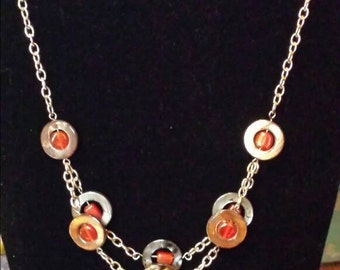 Shell and Glass Chain Necklace