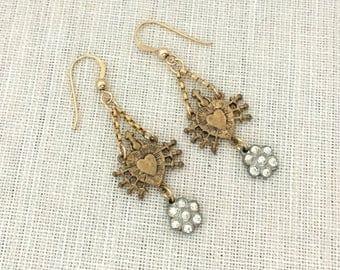 Mixed Metal Dangle Earrings Gift for Her - Rhinestone Earrings - Religious Sacred Heart Earrings - Everyday Dainty Earrings