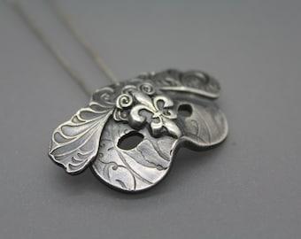 Mask Necklace, Mask Jewelry, Mardi Gras Jewelry, Mardi Gras Mask, New Orleans Jewelry, New Orleans Necklace, Saints Jewelry, Nola, Silver