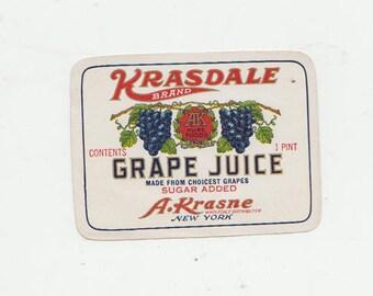 Vintage Krasdale Grape Juice Label Set of 3