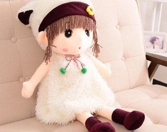 White Colour Stuffed Girl Dolls- 45cm