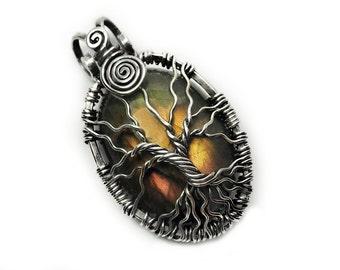Labradorite Tree of Life pendant Handmade Jewelry, Labradorite and Sterling Silver Jewelry