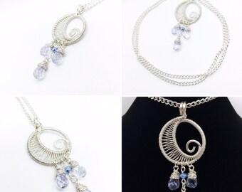 Genuine Lavender Crystal Tear Drop Moon Necklace