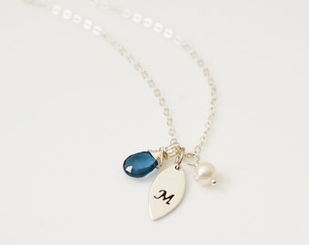 Personalized Necklace, Petal Necklace, London Blue Topaz Necklace, December Birthday, Leaf Necklace, Bridesmaid Gift, Initial Necklace