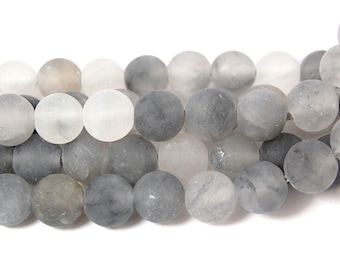Matte Cloud Quartz 8mm Frosted Round Beads -15 inch strand